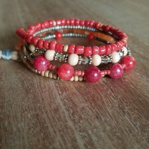 Coral and Wood Beaded Wrap Bracelet